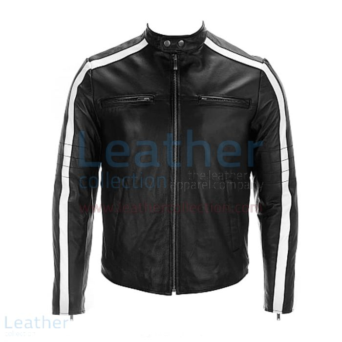 Semi Moto Leather Jacket With Stripes on Sleeves front view