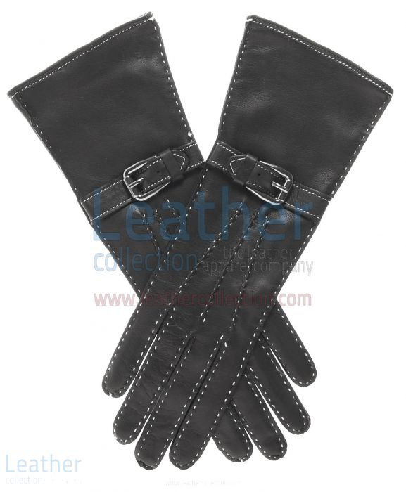 Silk Lined Leather Gloves with Decorative Buckle upper view
