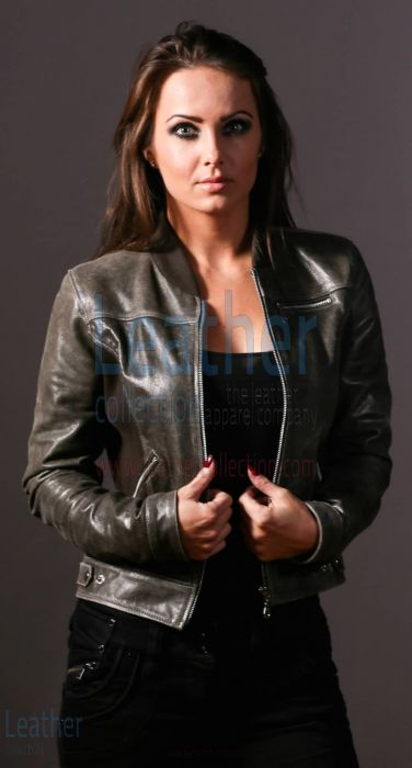 Sledge Women Fashion Leather Jacket opened front view
