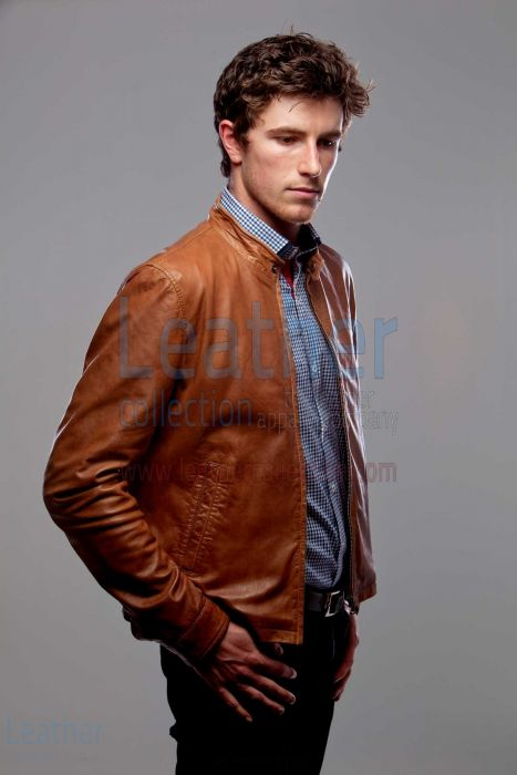 Slick Leather Jacket Front Side View