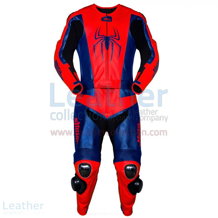 Spiderman Leather Race Suit front view