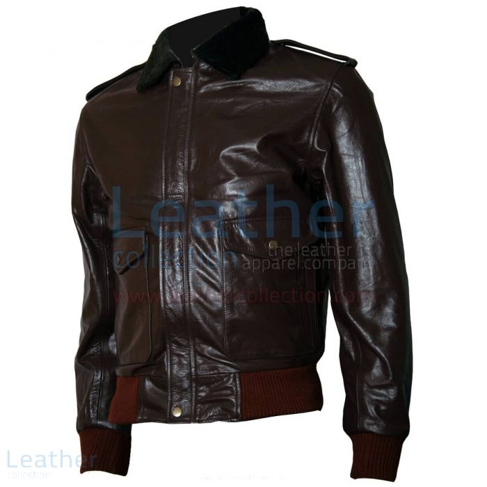 The Thing R. J. MacReady Brown Leather Jacket front view