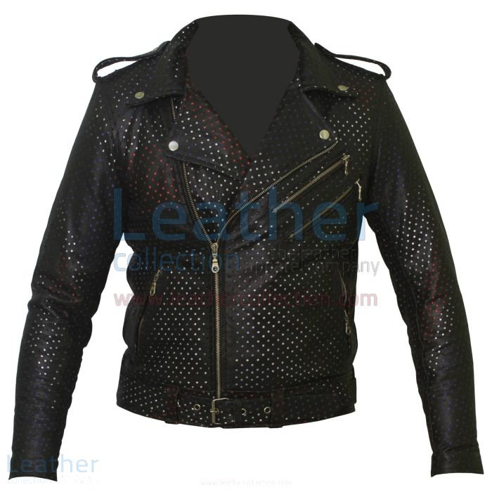 Union Jack Perforated Fashion Leather Jacket front view