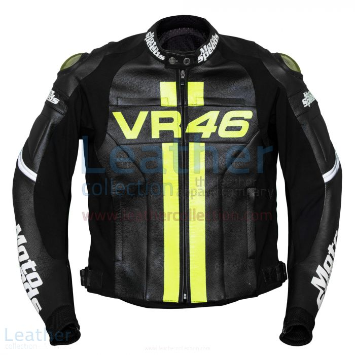VR46 Valentino Rossi Leather Jacket front view