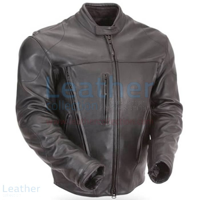 Waterproof Motorcycle Leather Jacket with CE Armor side