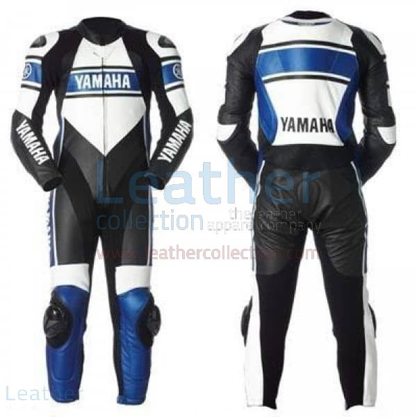 Yamaha Motorcycle Leather Suit Blue front and back view
