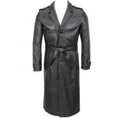 Classic Belted Trench Coat Leather front view