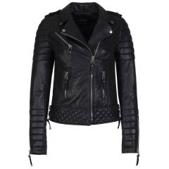 Womens Quilted Leather Jacket Black Front View