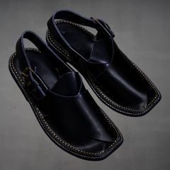 Black Leather Chappal for Mens side view
