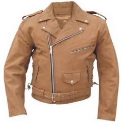 Brown Leather Motorcycle Jacket front view