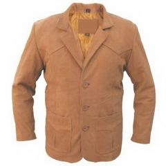 Brown Men Leather Blazer front view