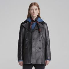 Classic Leather Peacoat Ladies front view