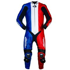 France Flag Motorbike Race Leathers front view