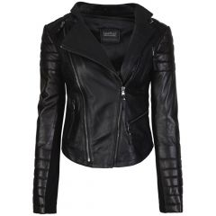 Kelly Fashion Ladies Leather Jacket Black front