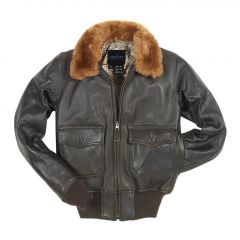 Ladies Fur Collar Leather Bomber Jacket front view