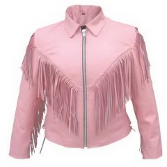 Ladies Pink Jacket with Fringes front view
