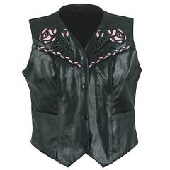 Ladies Rose Leather Vest front view