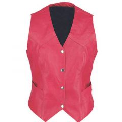 Ladies Vintage Red Fashion Leather Vest front view