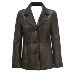 Leather 3 Button Blazer For Women front