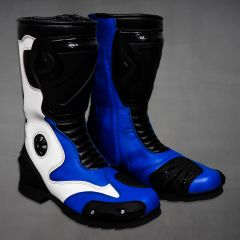 Leather Blue Biker Boots right side view