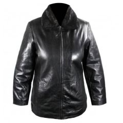 Leather Jacket With Fur Collar front view
