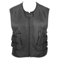 Leather Rider Vest with Velcro Side Straps front view