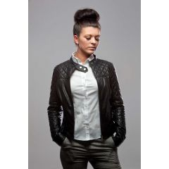 Little Miss Leather Jacket for Women open front view