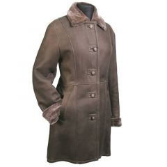 Long Leather Fur lined Coat front view