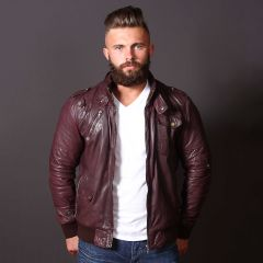 Brown Leather Bomber Jacket men