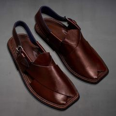 Men Brown Leather Chappal side view