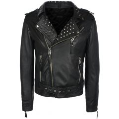 Mens Studded Collar Leather Jacket front view