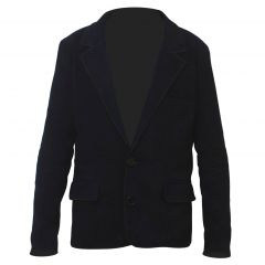 Navy Suede Fashion Leather Blazer front view