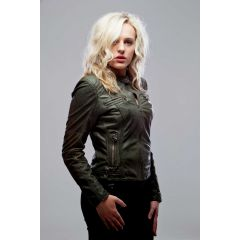 sassy leather jacket women side view