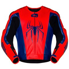 Spiderman Leather Motorcycle Jacket front view