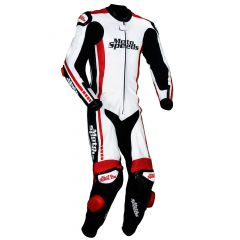 Veteran Leather Motorcycle Suit side front view