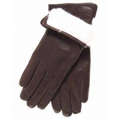 White Fur Lined Brown Womens Leather Gloves