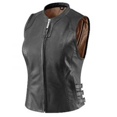 Womens Black Classic Leather Vest front view