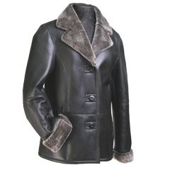 Women Leather Fur Blazer front