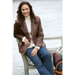 Womens Leather Peacoat Brown