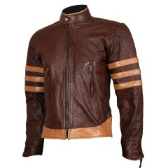 X-MEN Wolverine Origins Brown Biker Leather Jacket front view