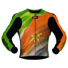 abstract race leather riding jacket front view