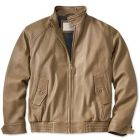 Beige leather pilot bomber jacket front view