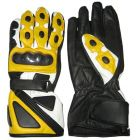 Bravo Yellow Leather Biker Gloves